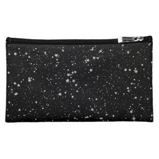 Glitter Stars2 - Silver Black Makeup Bag