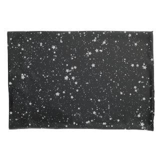 Glitter Stars2 - Silver Black Pillowcase