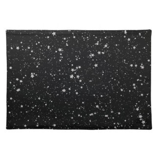 Glitter Stars2 - Silver Black Placemat