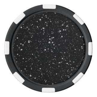 Glitter Stars2 - Silver Black Poker Chips