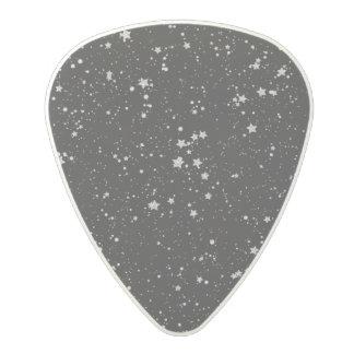 Glitter Stars2 - Silver Black Polycarbonate Guitar Pick