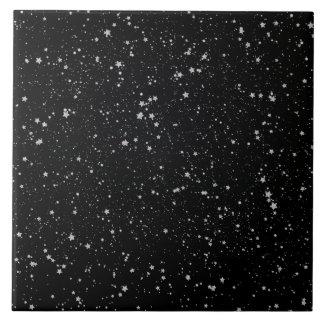 Glitter Stars2 - Silver Black Tile