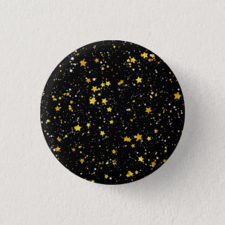 Glitter Stars3 - Gold Black 1 Inch Round Button