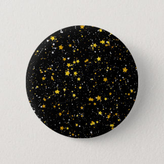 Glitter Stars3 - Gold Black 2 Inch Round Button