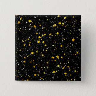 Glitter Stars3 - Gold Black 2 Inch Square Button