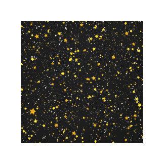 Glitter Stars3 - Gold Black Canvas Print