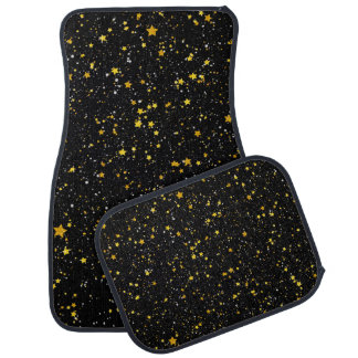 Glitter Stars3 - Gold Black Car Mat