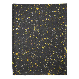Glitter Stars3 - Gold Black Duvet Cover