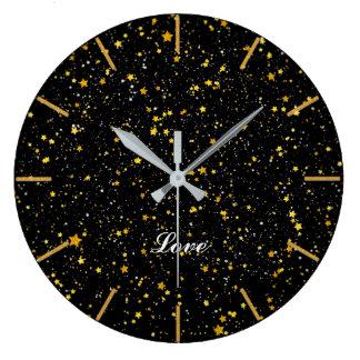 Glitter Stars3 - Gold Black Large Clock
