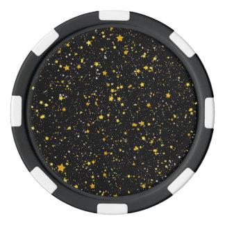 Glitter Stars3 - Gold Black Poker Chips