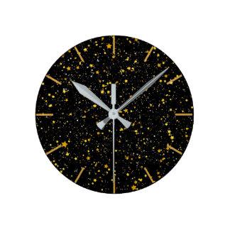 Glitter Stars3 - Gold Black Round Clock