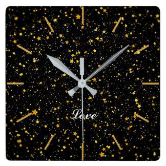 Glitter Stars3 - Gold Black Square Wall Clock