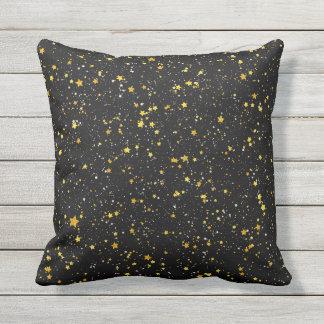 Glitter Stars3 - Gold Black Throw Pillow