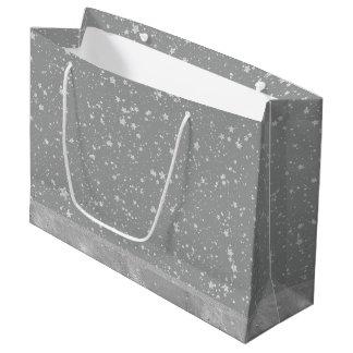 Glitter Stars4 - Silver Large Gift Bag