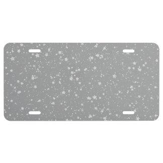 Glitter Stars4 - Silver License Plate