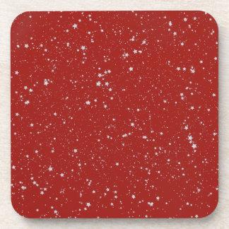 Glitter Stars - Silver Red Coaster