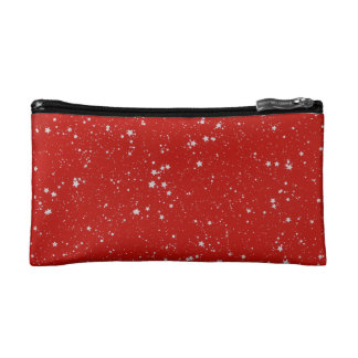 Glitter Stars - Silver Red Cosmetic Bag