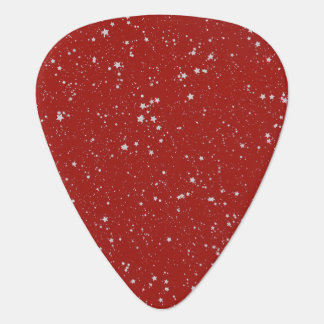 Glitter Stars - Silver Red Guitar Pick