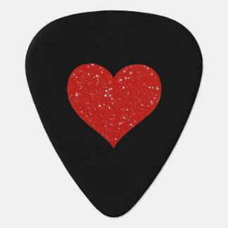 Glitter Stars - Silver Red Guitar Pick