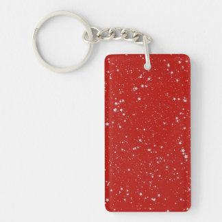 Glitter Stars - Silver Red Keychain
