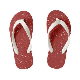 Glitter Stars - Silver Red Kid's Flip Flops