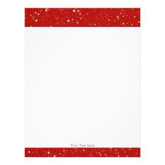 Glitter Stars - Silver Red Letterhead