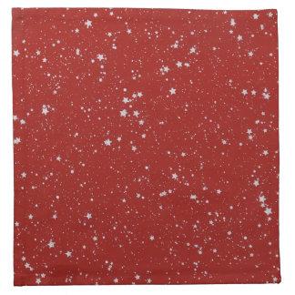 Glitter Stars - Silver Red Napkin