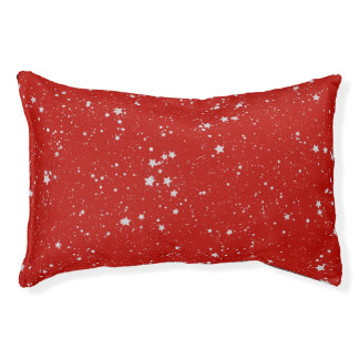 Glitter Stars - Silver Red Pet Bed