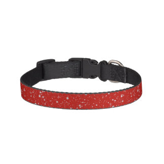 Glitter Stars - Silver Red Pet Collar