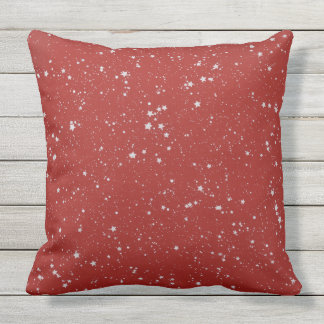 Glitter Stars - Silver Red Throw Pillow
