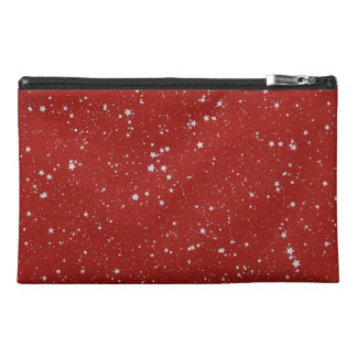 Glitter Stars - Silver Red Travel Accessory Bag