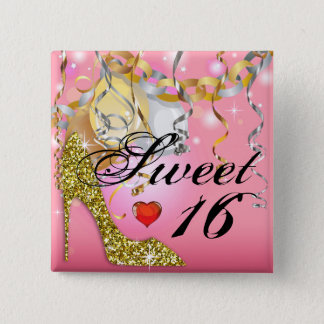 Glitter Stiletto Celebration for Sweet 16 | pink 2 Inch Square Button