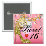 Glitter Stiletto Celebration for Sweet 16 | pink Pinback Buttons