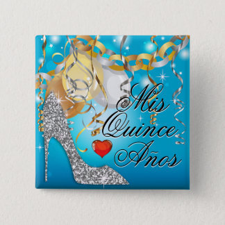 Glitter Stiletto Celebration Quinceañera blue 2 Inch Square Button