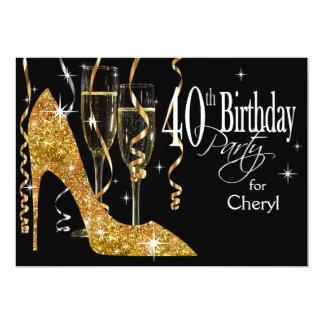 Glitter Stiletto Champagne 40th Birthday gold Personalized Invitations