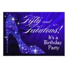 Glitter Stiletto Zebra 50 & Fabulous Birthday blue Card