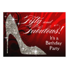 Glitter Stiletto Zebra 50 & Fabulous Birthday red Card