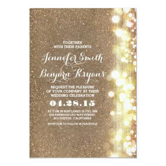 glitter string lights glamours wedding invite