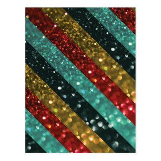 Glitter Striped Bold Colorful Design Postcard