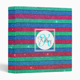 Glitter Stripes Monogram 3 Ring Binders