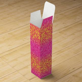 Glitter-Stripes, Pink-Yellow-WINE GIFT BOX Wine Bottle Boxes
