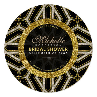Glitter Style Gold Black Cross Bridal Shower Round Card