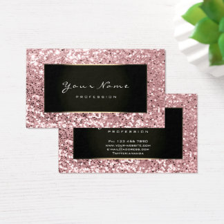 Glitter Stylist Fashion Blogge Black Pink Rose Business Card