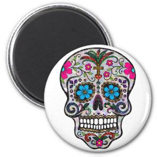 glitter Sugar Skull 2 Inch Round Magnet
