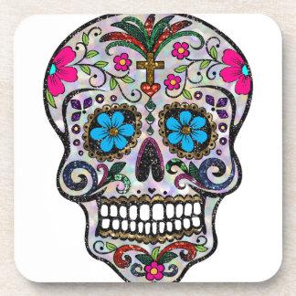 glitter Sugar Skull Beverage Coaster