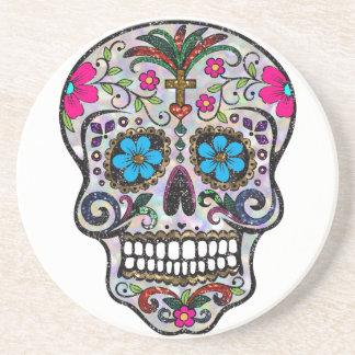 glitter Sugar Skull Drink Coasters