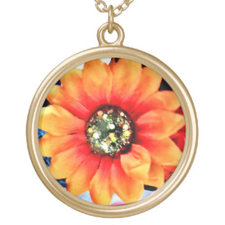 Glitter Sunflower Gold Plated Necklace