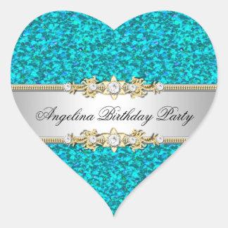 Glitter Teal Birthday Party Gold Jewel Diamond Heart Stickers