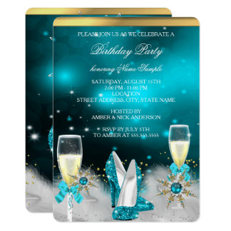 Glitter Teal High Heels Silver Gold Champagne Card