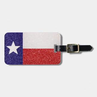 Glitter Texas flag customizable luggage tag